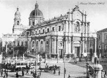 Old picture of Catania, 1905 - Piazza Duomo