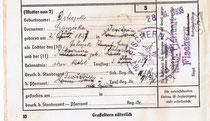 Taufbescheinigung der Franziska Drliczek