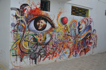 Wandmalerei in Asilah.