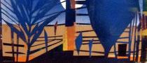 Abendlandschaft, Papierschnitt auf Hartfaser/ Detail