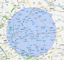 千葉県 松戸市 トータルリペア ラディックスの無料出張エリア 地図 MAP