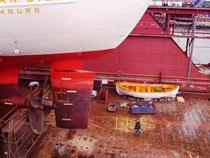 Hinterschiff mit Propeller und Ruder (Foto Dr. Hochhaus)