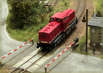 V100 am Bahnübergang