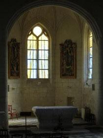 Le chevet de l'église Saint Aubin.Philippe Brissy.Atelier Théophile