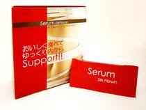 セラムーシルクフィブロインは、長島先生との共同研究開発商品です。 注目素材「シルクフィブロイン」を主原料とした、ゼリータイプ(ピーチ味)の健康食品です。