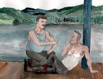 Nastasia Louveaus Bildprodukt nach der Donau-Kurzgeschichte des Autors