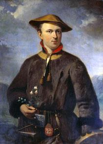 Carl von Linné (damaliger Name Carolus Linnaeus) auf seiner Lappland-Reise mit seiner Lieblingsblume, dem Moosglöckchen (Linnaea borealis), Gemälde von Hendrik Hollander, 1853 - Diese Abbildung ist gemeinfrei, jeder darf sie verwenden.