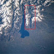 Das Val Lagarina östlich des Gardasees aus dem Spaceshuttle, NASA
