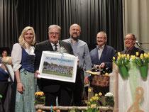 40 Jahre Freundschaft mit der Harmoniemusik Eschen v.l.n.r Melanie Pahn, Anton Gerner, Thomas Maier, Werner Horber, Rudi Heilig