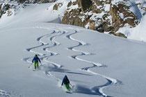 Gletscherabfahrt ins Val Roseg