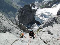 ausgesetzte Kletterei am «Hick»