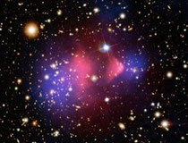 The pink sourounding the Bullet cluster shows the inferred position of dark matter, but what is it? (Credit: NASA)