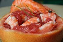 Pamplemousses aux crevettes