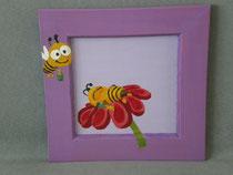 """cadre bois violet 21X21cm parme rigolo """"les pt'ites abeilles"""""""