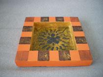 plateau , vide poche avec résine orange et marron