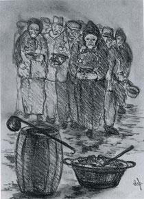 テレジン収容所でスープの配給を待つ人々
