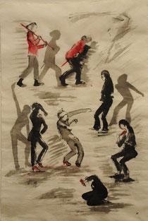 """Human Dance, """"Butô/Flamenco"""" Impressions-reppetition-1, Iris-Françoise-Aurelie, 97x65cm,Encre de Grethe KNUDSEN, Paris, 2011"""