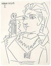 """Pablo Picasso """"Tête de Femme"""" 1965 Pencil on paper"""