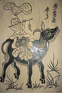 Ván khắc tranh Chăn trâu thổi sáo ở nhà nghệ nhân Nguyễn Hữu Sam làng tranh Đông Hồ