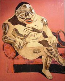 Thiếu phụ ngự ghế bành, tranh sơn mài (2008)