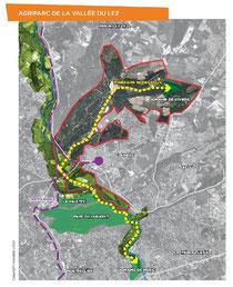 Carte de l'agriparc de la vallée du Lez