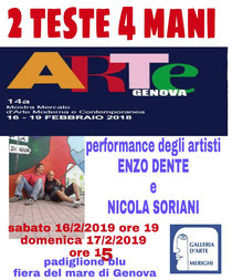 Performance di Nicola Soriani e Enzo Dente ad ARTE GENOVA 2019