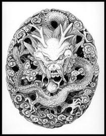 Dragon pencil drawing by Vicki Israel