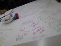 机一面の紙に、気づいたことを自由にどんどん書き出します。菓子をつまみながら^^