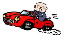 無宗教葬に赤い車で来る僧侶