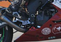 Particolare modifica frizione a piede su Kawasaki ZX10R