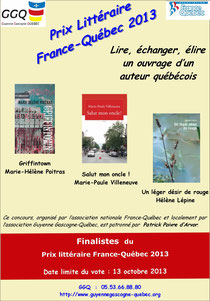 prix littéraire france québec 2013