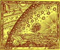 """mittelalterlicher Holzschnitt: der Mensch versucht, die Grenze seiner Welt zu überschreiten und ins """"Transzendente"""" vorzudringen."""