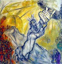 Marc Chagall: Gott übergibt Moses die Gesetzestafeln mit den Geboten