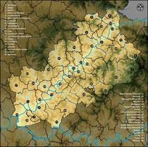 Les 39 communes concernées par l'inventaire