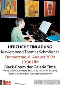 galerie time Klavierabend mit Thomas Schmöger Mozart Satie Brahms und eigne Improvisationen