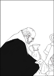 The drawing of Cardinal O'Malley, washing the feet of a survivor of a priest pedophile in Dublin, is by my friend and fellow writer Elizabeth Moisan. Please click on the image to visit her page at this site.