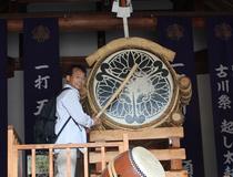 展示館に展示してある実物の起こし太鼓。