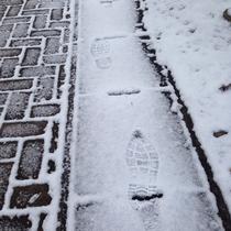 雪の上の自分の足跡をみる。