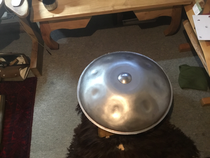 LUNA Handpan, grinded and freed from corrosive layers, before laquering.
