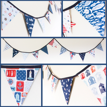 nautical themed bunting sailor surfer fisherman beach house fabric flags