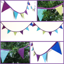 mini peacock bunting fabric flags purple