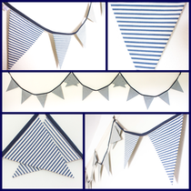 nautical navy stripe bunting sailor surf beach blue white fabric flags