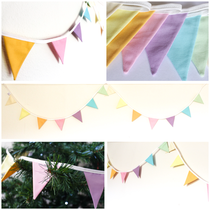 mini mixed pastel coloured bunting fabric flags
