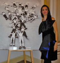 in foto: Beatrice Feo Filangeri nobile e fondatrice del pop barocco. 52° Biennale di Venezia. La nobile è ritratta a fianco all'opera L'Albero di E.Martorana.