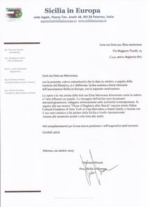 """Lettera conferimento ad Elisa Martorana del titolo di """"Socia Onoraria"""" di Sicilia in Europa"""