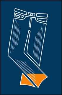 Blaue Hose mit 16% orangener Füllung