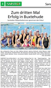 TKJ-Wasserballerinnen zum dritten Mal erfolgreich in Buxethude. Huckup/Unser Sarstedt vom 11.09.2013