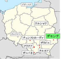 ポーランド、ザモシチ地図