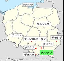 ポーランド、タルヌフ地図