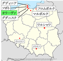 ポーランド、オリーヴァ地図